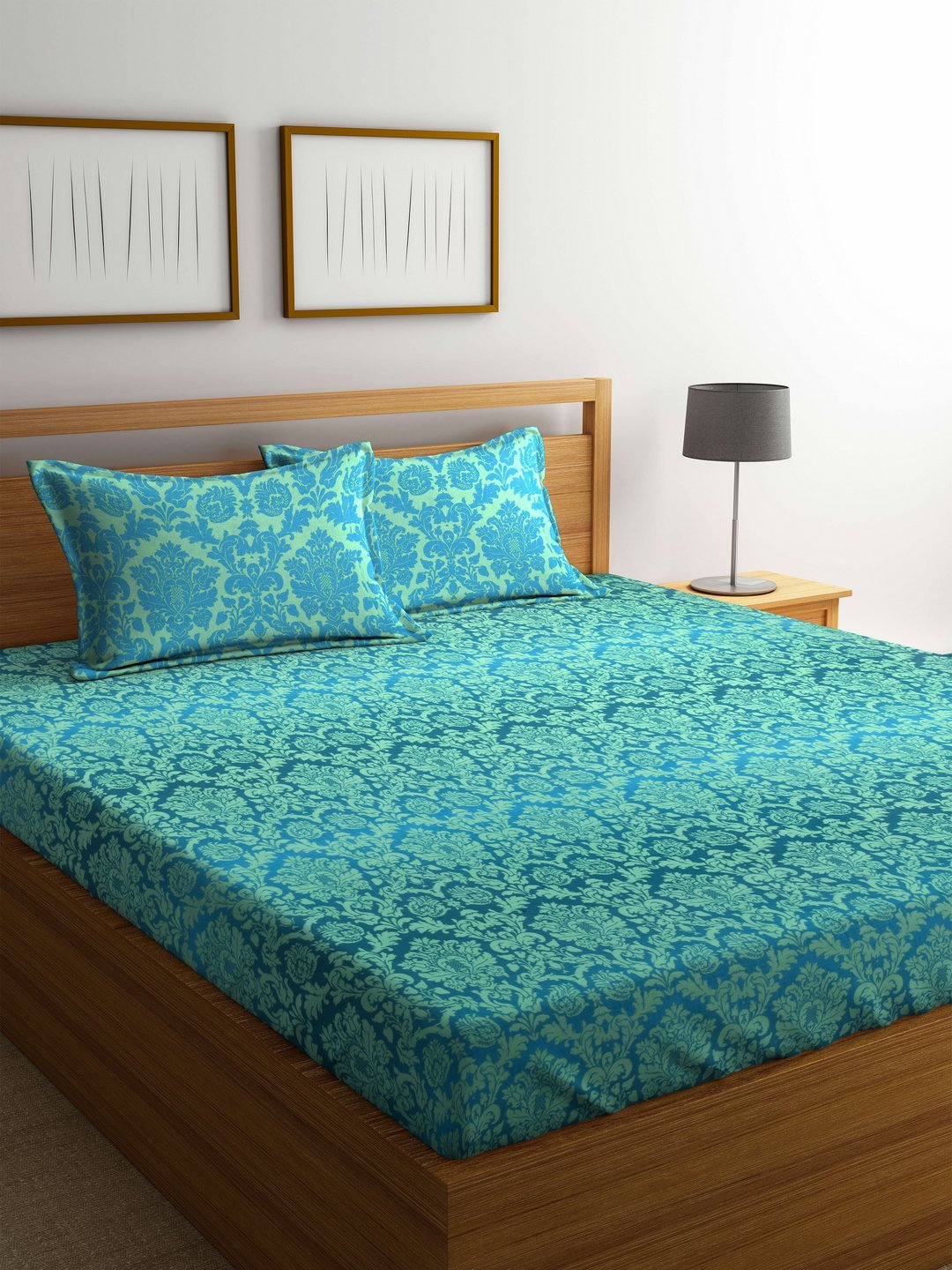 Bombay Dyeing Mimosaa 100 Tc Cotton Double Bedsheet With 2
